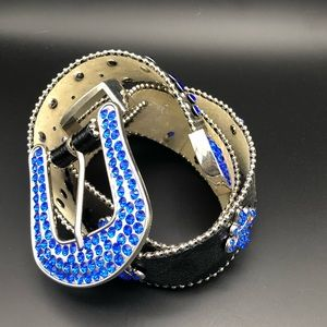 Leather Bling Belt Black n Blue